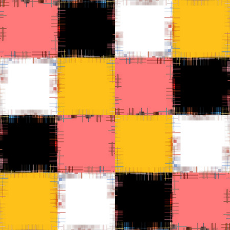 virtual reality simulator: Multicolored patch pattern collage in a chessboard order as abstract background.Digitally generated image.