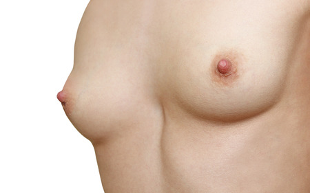 naked breast: Young women healthy naked breast taken closeup on white background.