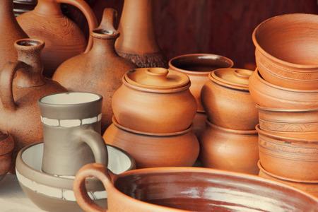 loamy: Different kinds of ceramics pots taken closeup. Stock Photo