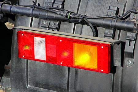 stop light: Stop light of big truck taken closeup.