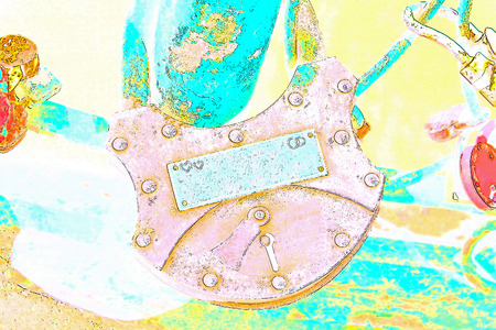 vows: Big grunge heart lock romance love taken closeup with empty blank.Digitally generated image.