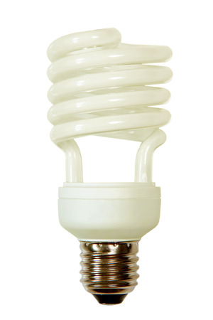 socle: Energy save lamp taken closeup isolated on white background.