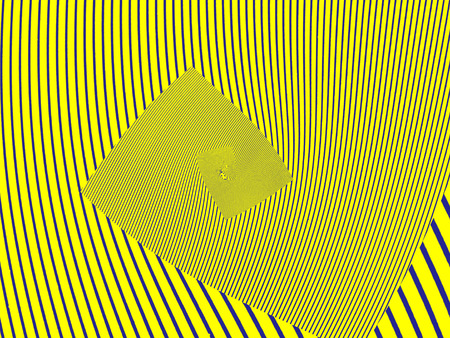 blue stripe: Optical illusion.Yellow striped abstract background.Digitally generated image. Stock Photo
