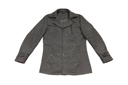 seasonable: Gray men autumn coat isolated on white background.