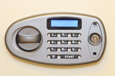 control panel: Control panel of electronic home safe taken closeup.