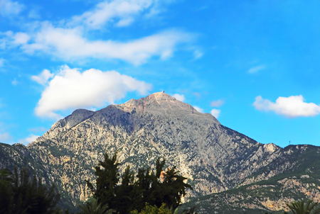 located: View of the Mount Tahtali, located near Kemer, Antalya Province, Turkey. Stock Photo