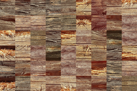 woden: Woden grunge texture pattern collage in a chessboard order. Abstract background.