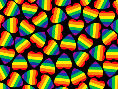 Set of multicolored hearts shape with gay pride flag inside on black as abstract background. Stock Photo