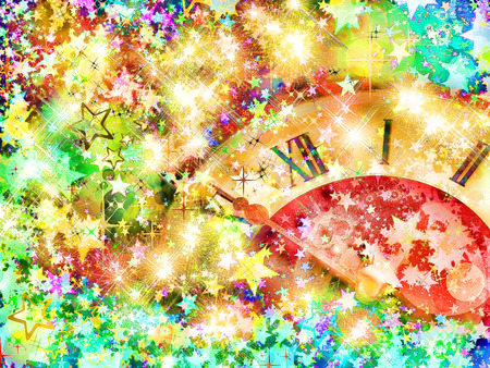 festival moments: Eve of new year.Clock face on multicolored shining stars background. Stock Photo