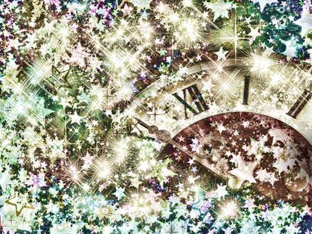 1 2 years: Eve of new year.Clock face on shining stars background.Retro style toned image.