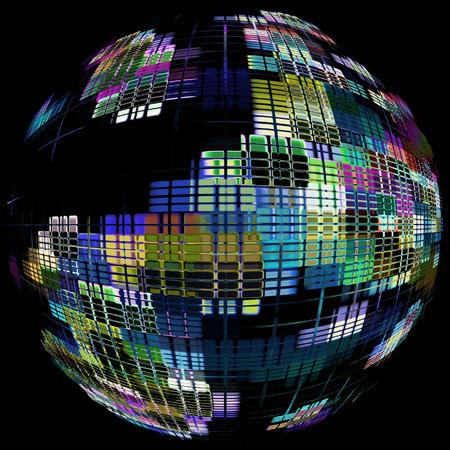 communication concept: Multicolored globe silhouette on black.Global communication concept.