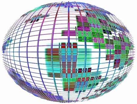 meridiano: Resumen silueta globo en white.Global comunicación concept.Digitally imagen generada.