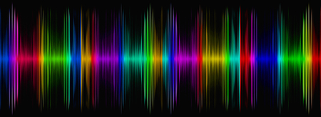 recognition: Abstract multicolored sound equalizer on black display.Digitally generated image.