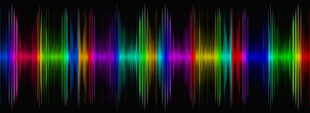 reconocimiento: Resumen ecualizador de sonido multicolor en display.Digitally negro imagen generada. Foto de archivo