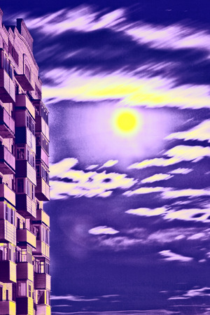 multistory: Multistory house against of blue dramatic sky.Digitally altered image.