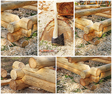 Collage of carpentry workshop details. Stock Photo
