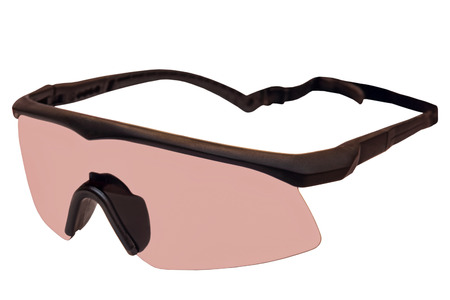 defense facilities: Military tactical goggles isolated on white background.