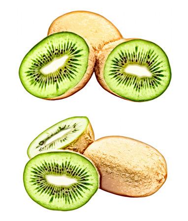 altered: Ripe green kiwi isolated on white background.Digitally altered image.
