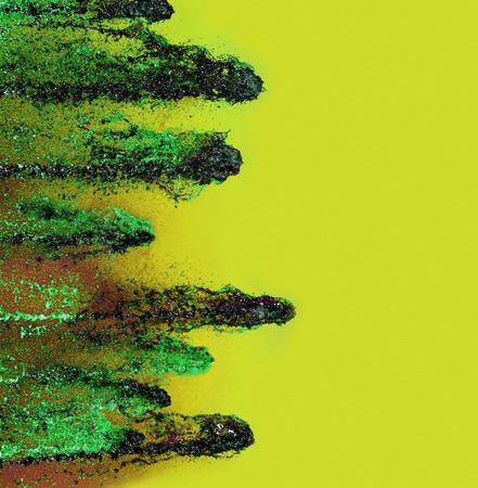 altered: Green fireballs on yellow background.Digitally altered image. Stock Photo