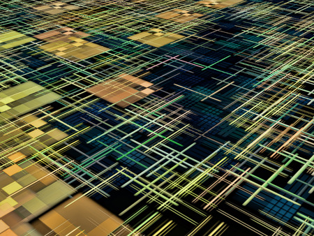 square shape: Matrix and square shape pattern as abstract background.Digitally generated image.