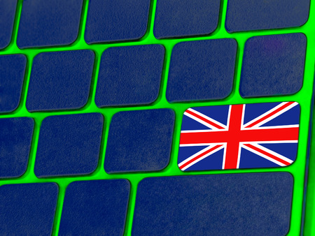 great britain flag: Blue computer keyboard with Great Britain flag as Enter key.Digitally altered image. Stock Photo