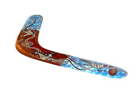 Multicolored australian boomerang isolated on white background taken closeup.
