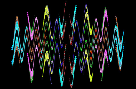 waveform: Multicolored abstract waveform pattern on black background.Digitally generated image. Stock Photo