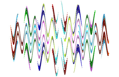 waveform: Multicolored abstract waveform pattern on white background.Digitally generated image. Stock Photo