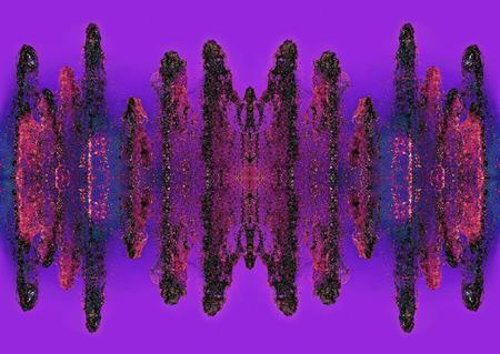 Multicolored abstract splash waveform pattern on purple background.Digitally generated image.