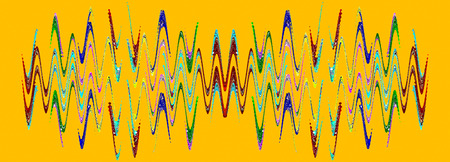 Multicolored abstract waveform pattern on orange background.Digitally generated image. Stock Photo