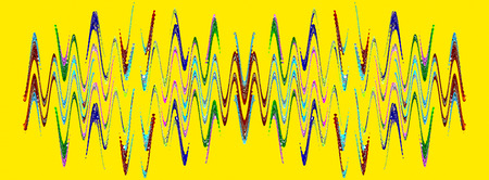 Multicolored abstract waveform pattern on yellow background.Digitally generated image. Stock Photo