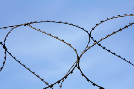 Barbed wire on blue sky background taken closeup.