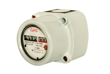 Gas meter isolated on white background taken closeup. Stock Photo