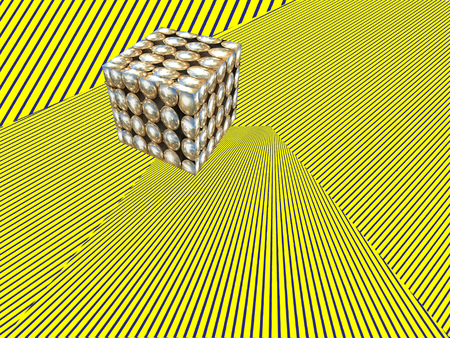 Abstract modern Isometric illustration background.Cube shape on yellow striped pattern.