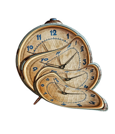 Liquid and flexible time concept.Surreal Alarmclock transforming on white background.Isolated. Stockfoto