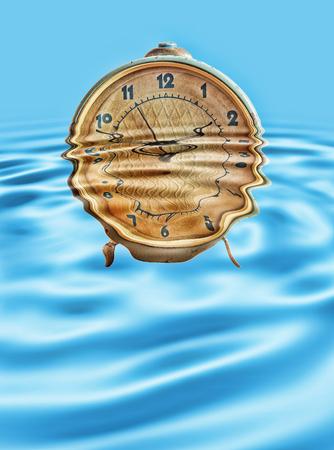 seconds: Retro alarm clock in blue water ripples taken closeup.