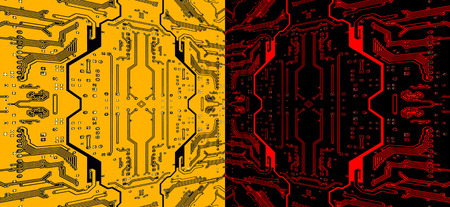 electronic components: Red and yellow circuit board pattern suitable as abstract technology background.Digitally altered image.