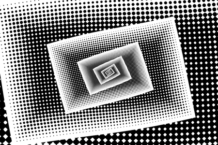 Monochrome Abstract futuristic halftone pattern.Kaleidoscope background. Dotted backdrop with circles, dots and fractal elements.