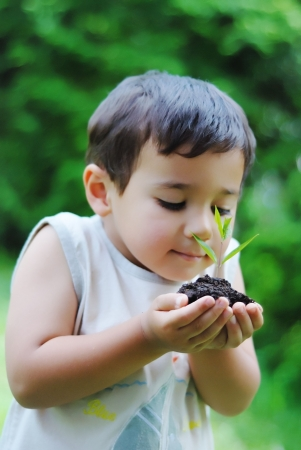 growing plant: Kid with growing plant in hands