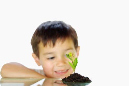 sustain: Smiling child looking at growing plant