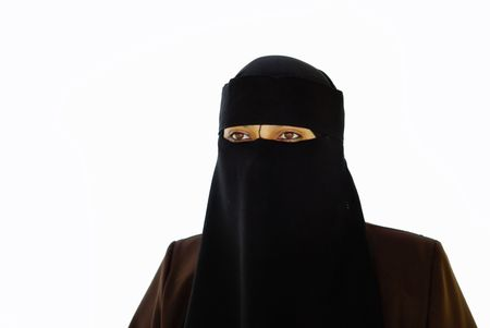 purdah: Muslim covered face woman