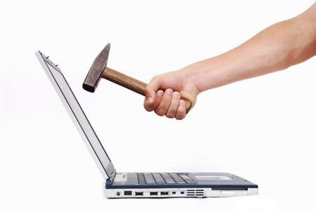 Hand over laptop about to crash it into parts Stock Photo - 5154967