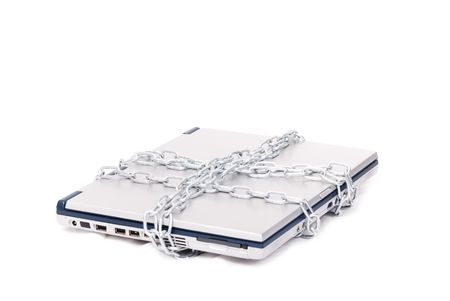 Personal computer tied by chain isolated in white Stock Photo - 5154972