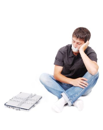 Man with isolated mouth and chained laptop Stock Photo - 5142143