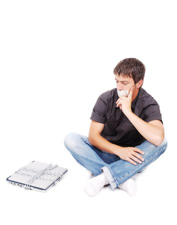 Man with isolated mouth and chained laptop photo