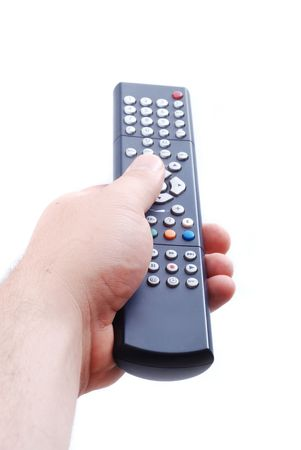 Remote control used by adult man in his hand photo