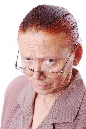 mujer enojada: Fuerte profesor de mediana edad con gafas en