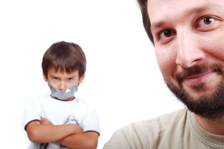 shutup: Young father resolving a problem with the son