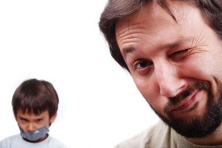 resolving: Young father resolving a problem with the son