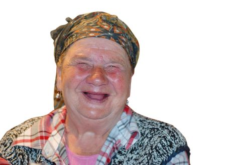 redneck: An old woman with red funny laughing face Stock Photo